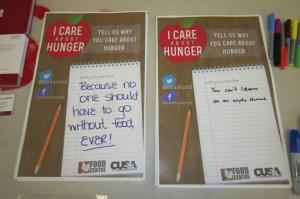 """Two posters are filled as part of CUSA Food Centre's """"I Care About Hunger"""" campaign."""
