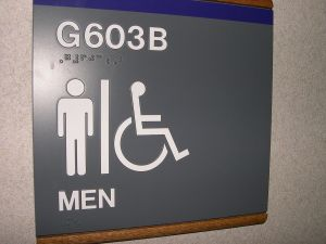 A male bathroom sign