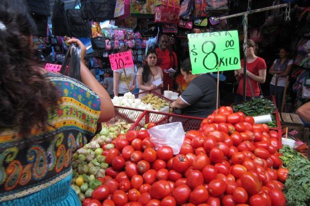 Tomatoes in the market at Cuernavaca. Photo by Kirsten Fenn