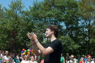 Pride Inc. Chair Noah Davis-Power gives a speech at the pride parade. Photo by Garrett Barry
