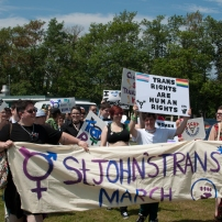 The St. John's Trans* March participated for the first time in this year's Pride Parade. Photo by Garrett Barry