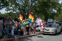 Newfoundland and Canadian flags were waved alongside pride flags during the parade. Photo by Garrett Barry