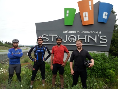 From left, Danny, Jason, Micah, and Alexander end their month-long cycling campaign in St. Johns, N.L. Photo provided by Alexander Waddling.