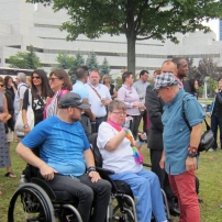 Members of the crowd at the Capital Pride flag raising ceremony. Photo by Kirsten Fenn