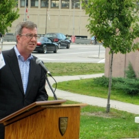 Ottawa Mayor Jim Watson spoke of the importance of GLBTQ inclusiveness at home, and around the world. Photo by Kirsten Fenn
