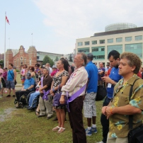 The crowd listens intently during ceremonial speeches. Photo by Kirsten Fenn