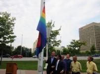 Ottawa Mayor Jim Watson raises the rainbow flag to mark Capital Pride week. Photo by Kirsten Fenn