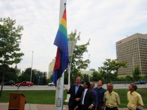 Ottawa Mayor Jim Watson and raises the rainbow flag to mark Capital Pride week. Photo by Kirsten Fenn