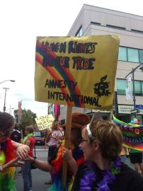 Amnesty International showing their pride. Photo by Brianna Harris