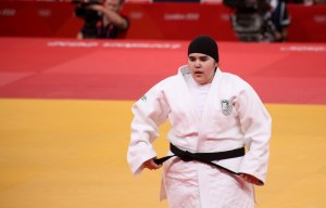 Saudia Arabia's Wojdan Shaherkani competes in Judo in the 2012 London Olympics. Photo by Martin Hesketh/Wikimedia