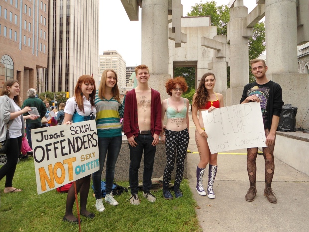 Participants of this year's SlutWalk Ottawa supported the idea that dressing provocatively is not an invitation for rape. Photo by Caitlin Hart