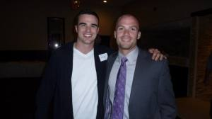 Paul Leduc (left) with emcee Justin Nolan (right) at the launch event for the Canadian Society for Male Survivors of Sexual Abuse (CSMSSA), in Sept. 2013. Provided