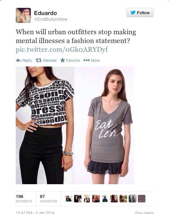 """The public took to Twitter to express their outrage at Urban Outfitters' """"Depression"""" T-shirt, which the company pulled from their shelves Jan. 5."""