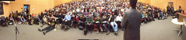 David Milgaard speaks about his wrongful conviction to a full house at Carleton, Feb. 1. Photo by Alison Sandstrom