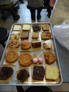 The wonderful desserts (in part donated by Tim Hortons and Starbucks) for the visitors!