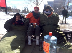 (From left) Carleton students Adam Lopez, Amanda Dundas and Gillian Moore slept outside Carleton University from March 10-15 to raise money for at-risk and homeless youth in Ottawa. Photo by Alison Sandstrom