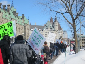An Ottawa safe injection site rally took to Parliament Hill on March 23, 2014., protesting Bill -2.