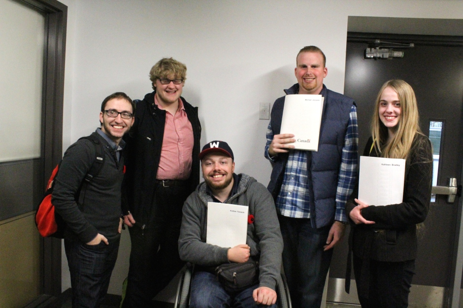 Rocco Scarcella (left) stands with four other forum participants after the national gathering took place at Carleton University on Nov. 1. Meagan Casalino/Carleton JHR News